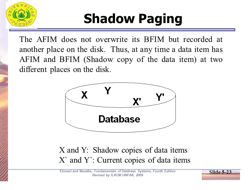 Slide 5-23 Elmasri and Navathe, Fundamentals of Database Systems, Fourth Edition Revised by ILKOM UNPAK, 2009 Shadow Paging The AFIM does not overwrite its BFIM but recorded at another place on the disk.