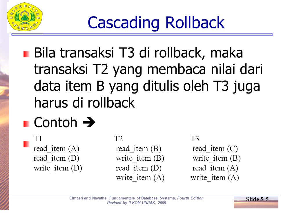 Slide 5-5 Elmasri and Navathe, Fundamentals of Database Systems, Fourth Edition Revised by ILKOM UNPAK, 2009 Cascading Rollback Bila transaksi T3 di r