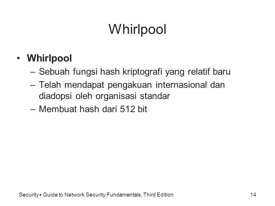 Security+ Guide to Network Security Fundamentals, Third Edition Whirlpool •Whirlpool –Sebuah fungsi hash kriptografi yang relatif baru –Telah mendapat