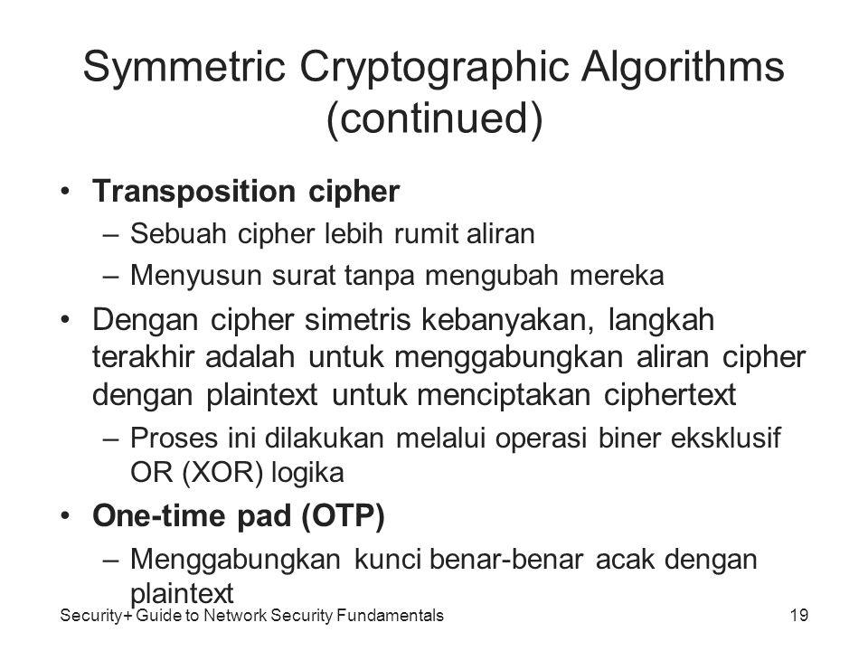 •Transposition cipher –Sebuah cipher lebih rumit aliran –Menyusun surat tanpa mengubah mereka •Dengan cipher simetris kebanyakan, langkah terakhir ada