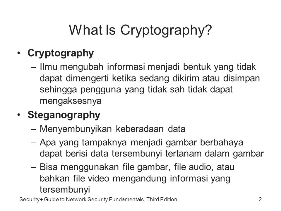 Security+ Guide to Network Security Fundamentals, Third Edition3 What Is Cryptography? (continued)