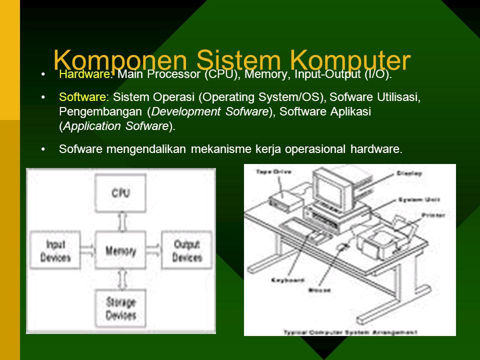 Komponen Sistem Komputer •Hardware: Main Processor (CPU), Memory, Input-Output (I/O).