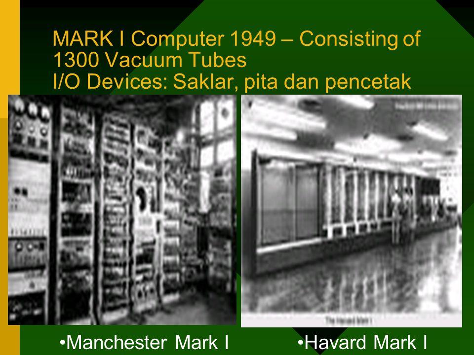 MARK I Computer 1949 – Consisting of 1300 Vacuum Tubes I/O Devices: Saklar, pita dan pencetak •Manchester Mark I•Havard Mark I