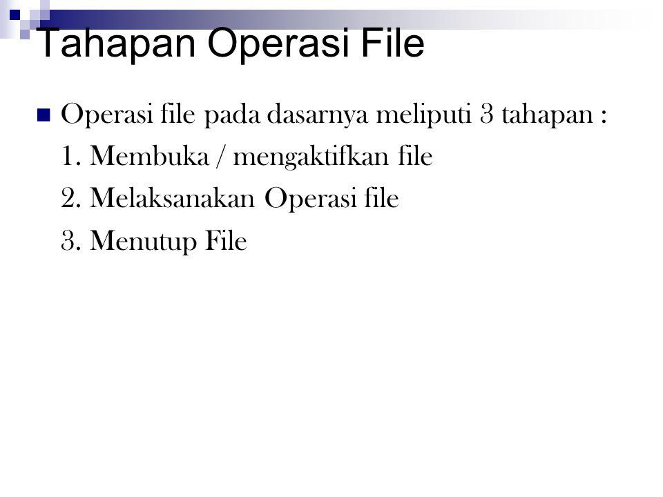 Tahapan Operasi File  Operasi file pada dasarnya meliputi 3 tahapan : 1. Membuka / mengaktifkan file 2. Melaksanakan Operasi file 3. Menutup File