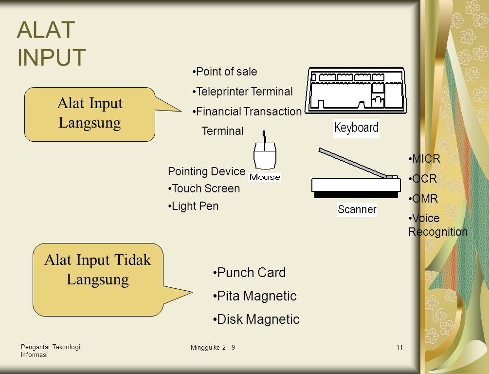 Pengantar Teknologi Informasi Minggu ke 2 - 911 ALAT INPUT Alat Input Langsung Alat Input Tidak Langsung •Punch Card •Pita Magnetic •Disk Magnetic Poi