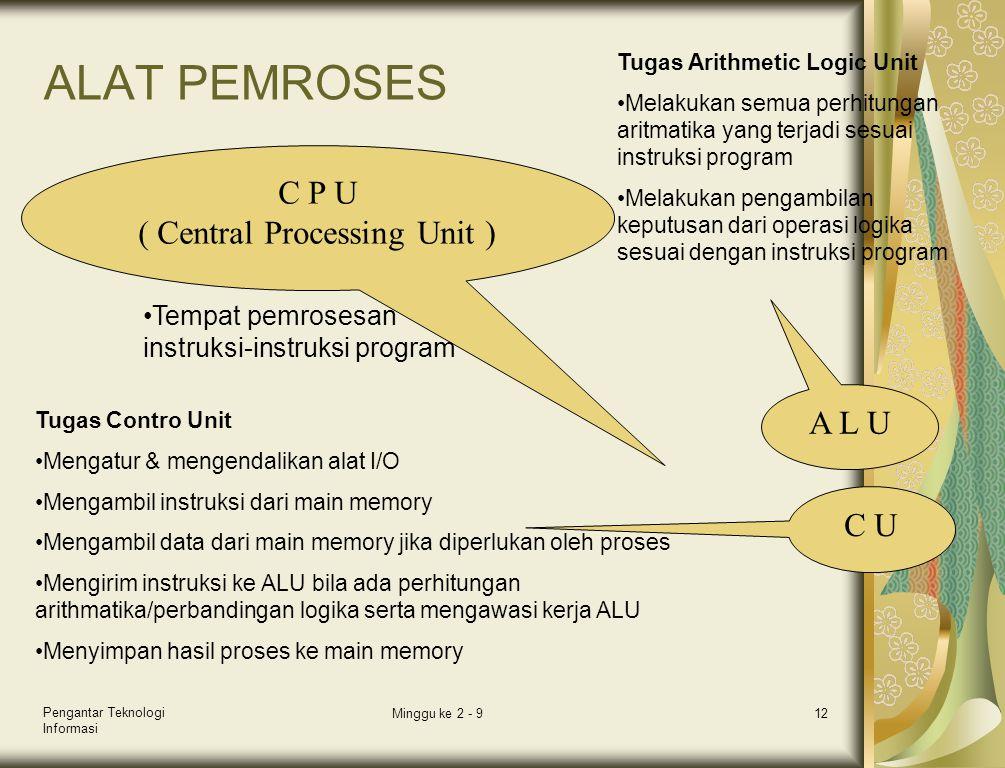Pengantar Teknologi Informasi Minggu ke 2 - 912 ALAT PEMROSES C P U ( Central Processing Unit ) •Tempat pemrosesan instruksi-instruksi program A L U C