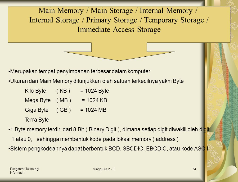 Pengantar Teknologi Informasi Minggu ke 2 - 914 Main Memory / Main Storage / Internal Memory / Internal Storage / Primary Storage / Temporary Storage