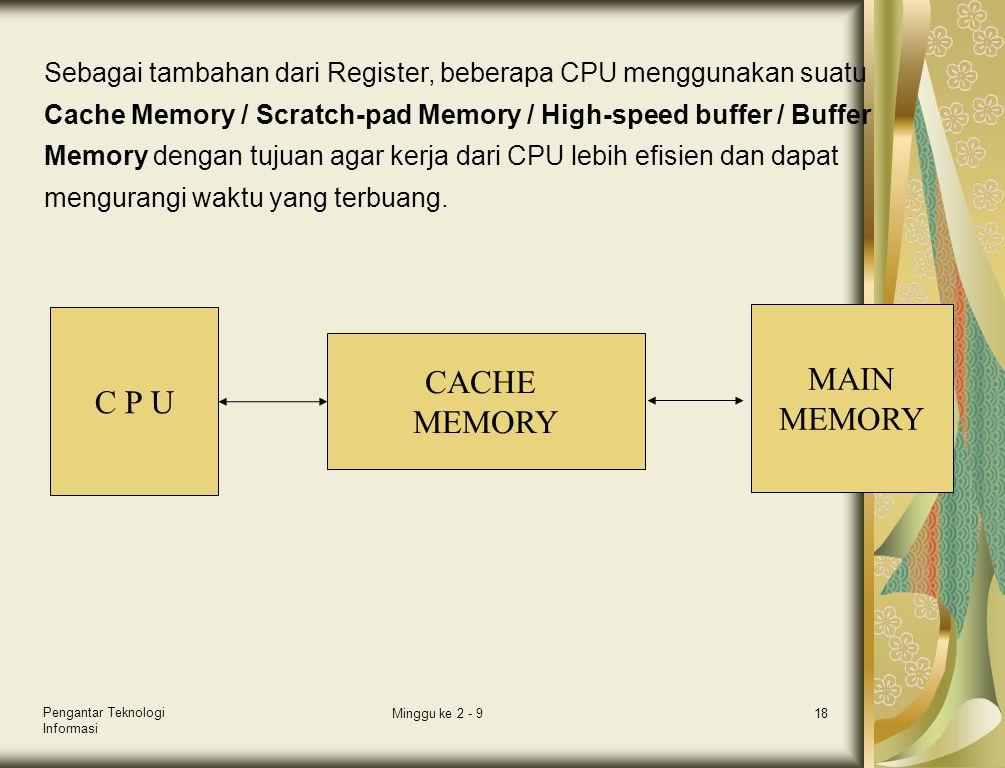 Pengantar Teknologi Informasi Minggu ke 2 - 918 C P U CACHE MEMORY MAIN MEMORY Sebagai tambahan dari Register, beberapa CPU menggunakan suatu Cache Me