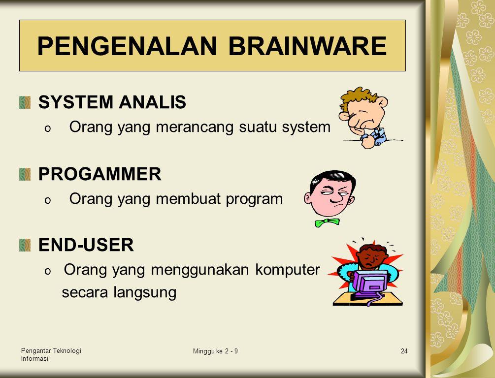 Pengantar Teknologi Informasi Minggu ke 2 - 924 SYSTEM ANALIS o Orang yang merancang suatu system PROGAMMER o Orang yang membuat program END-USER o Or
