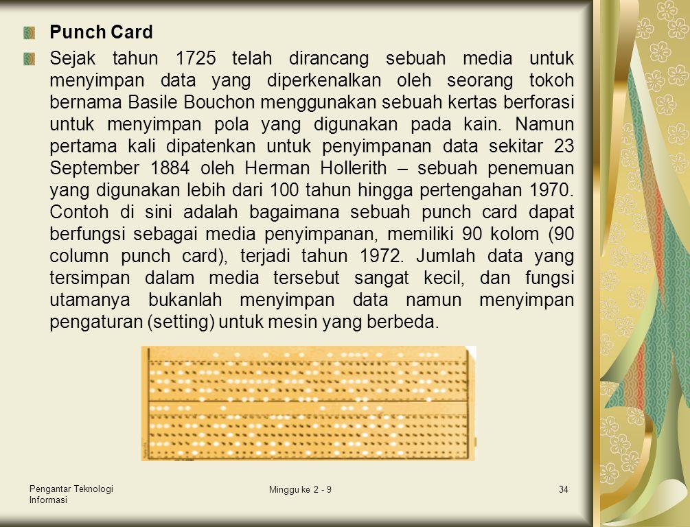 Punch Card Sejak tahun 1725 telah dirancang sebuah media untuk menyimpan data yang diperkenalkan oleh seorang tokoh bernama Basile Bouchon menggunakan