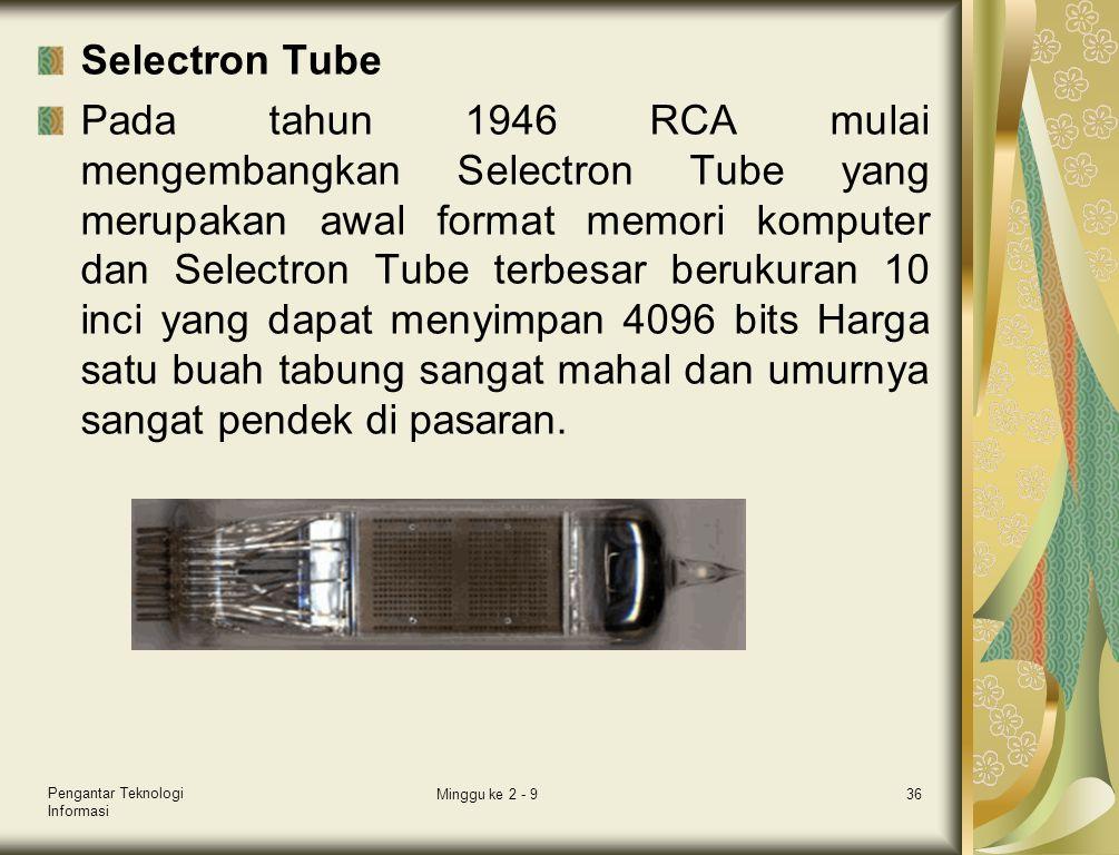 Selectron Tube Pada tahun 1946 RCA mulai mengembangkan Selectron Tube yang merupakan awal format memori komputer dan Selectron Tube terbesar berukuran