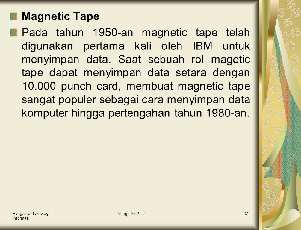 Magnetic Tape Pada tahun 1950-an magnetic tape telah digunakan pertama kali oleh IBM untuk menyimpan data. Saat sebuah rol magetic tape dapat menyimpa