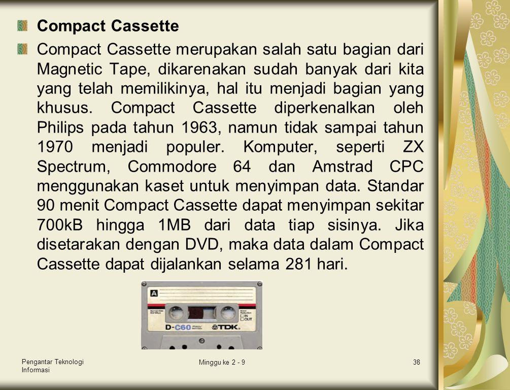 Compact Cassette Compact Cassette merupakan salah satu bagian dari Magnetic Tape, dikarenakan sudah banyak dari kita yang telah memilikinya, hal itu m