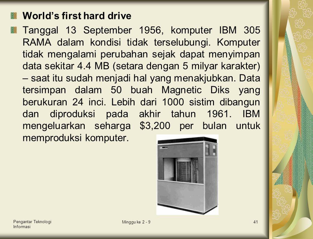 World's first hard drive Tanggal 13 September 1956, komputer IBM 305 RAMA dalam kondisi tidak terselubungi. Komputer tidak mengalami perubahan sejak d