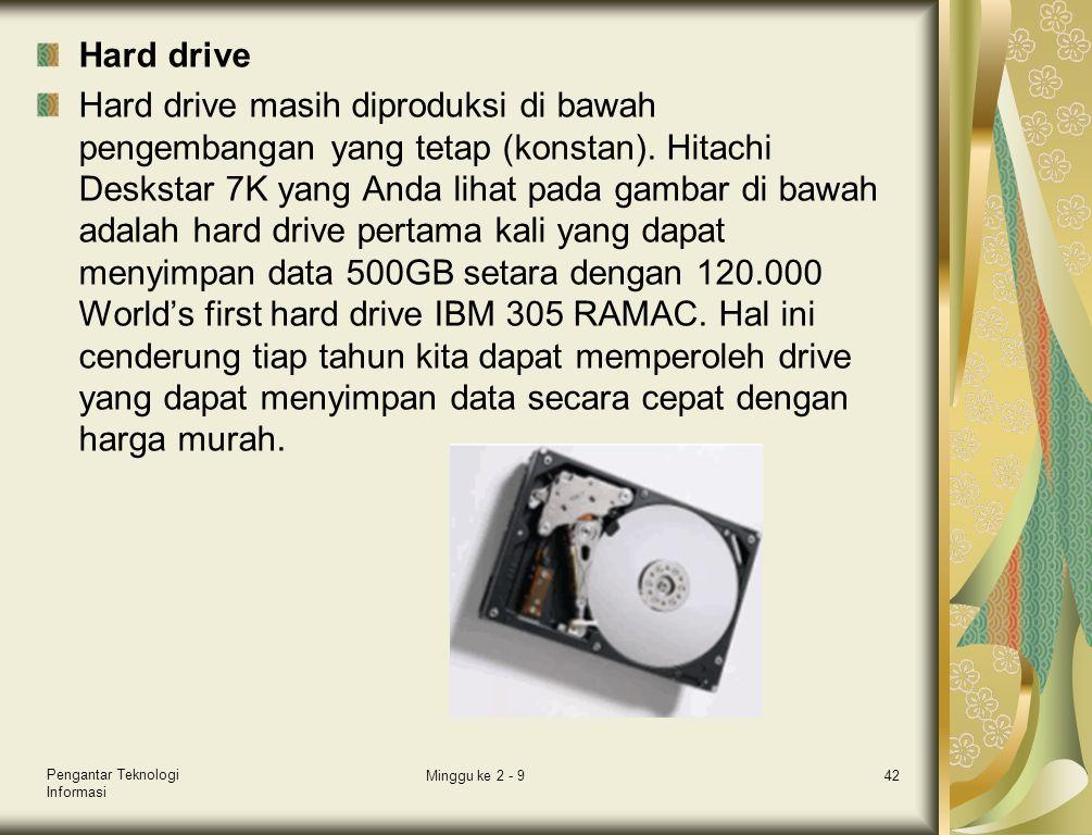 Hard drive Hard drive masih diproduksi di bawah pengembangan yang tetap (konstan). Hitachi Deskstar 7K yang Anda lihat pada gambar di bawah adalah har
