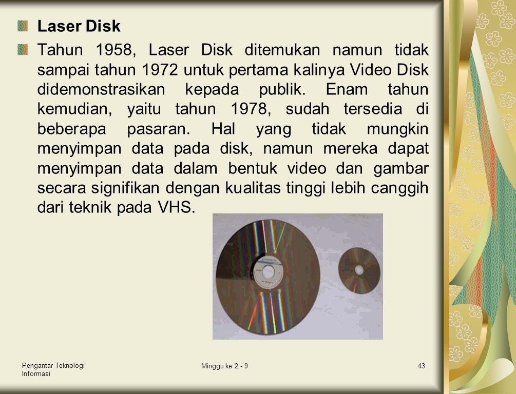 Laser Disk Tahun 1958, Laser Disk ditemukan namun tidak sampai tahun 1972 untuk pertama kalinya Video Disk didemonstrasikan kepada publik. Enam tahun