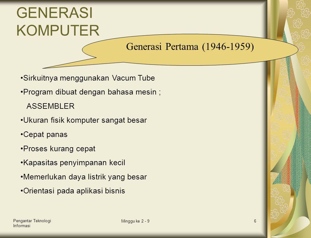 Pengantar Teknologi Informasi Minggu ke 2 - 96 GENERASI KOMPUTER Generasi Pertama (1946-1959) •Sirkuitnya menggunakan Vacum Tube •Program dibuat denga