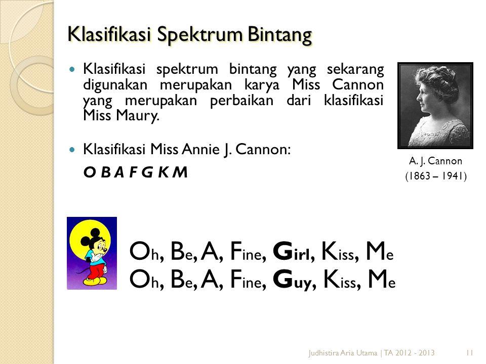 11 Klasifikasi Spektrum Bintang A. J. Cannon (1863 – 1941) O h, B e, A, F ine, G irl, K iss, M e O h, B e, A, F ine, G uy, K iss, M e  Klasifikasi sp