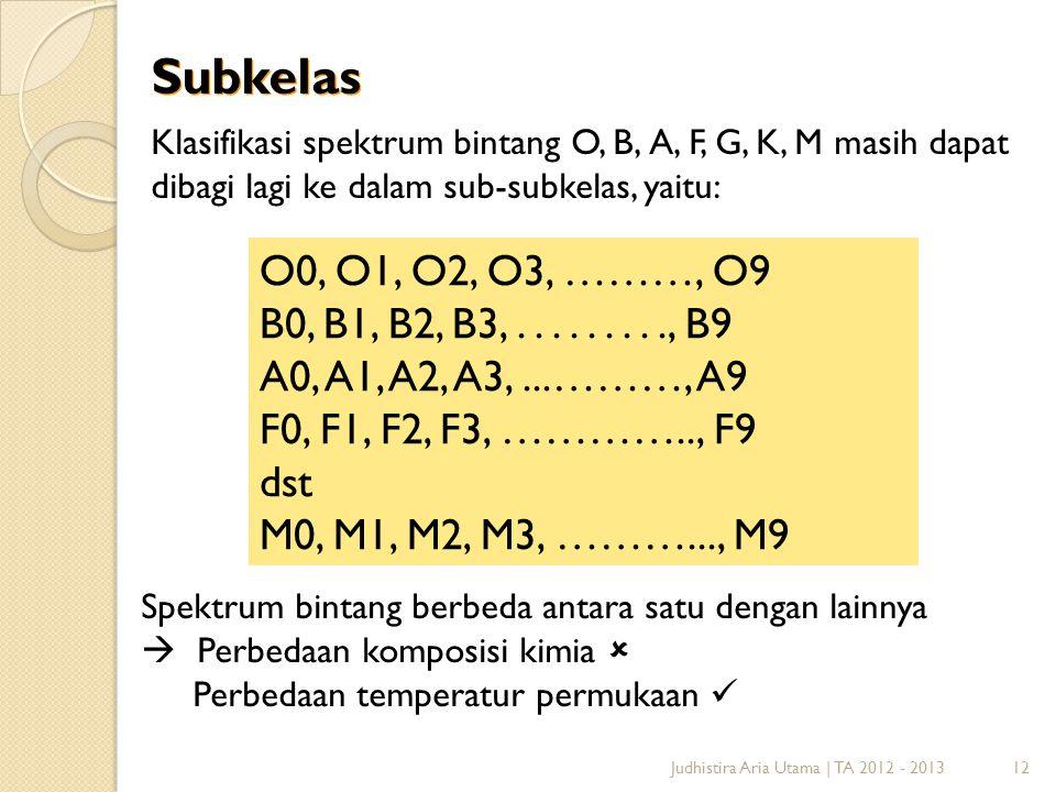 12 Subkelas Klasifikasi spektrum bintang O, B, A, F, G, K, M masih dapat dibagi lagi ke dalam sub-subkelas, yaitu: O0, O1, O2, O3, ………, O9 B0, B1, B2,