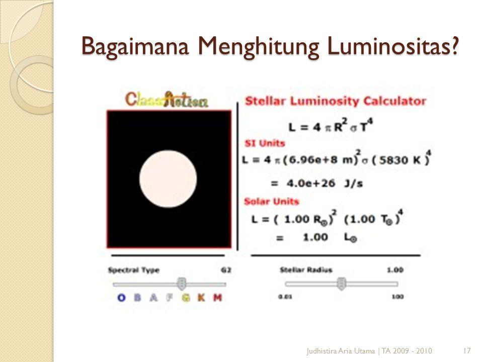 Bagaimana Menghitung Luminositas? Judhistira Aria Utama | TA 2009 - 201017