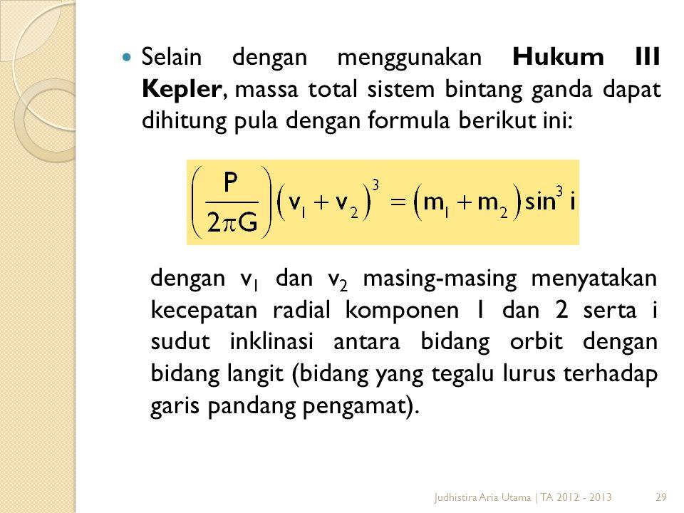 29  Selain dengan menggunakan Hukum III Kepler, massa total sistem bintang ganda dapat dihitung pula dengan formula berikut ini: dengan v 1 dan v 2 m