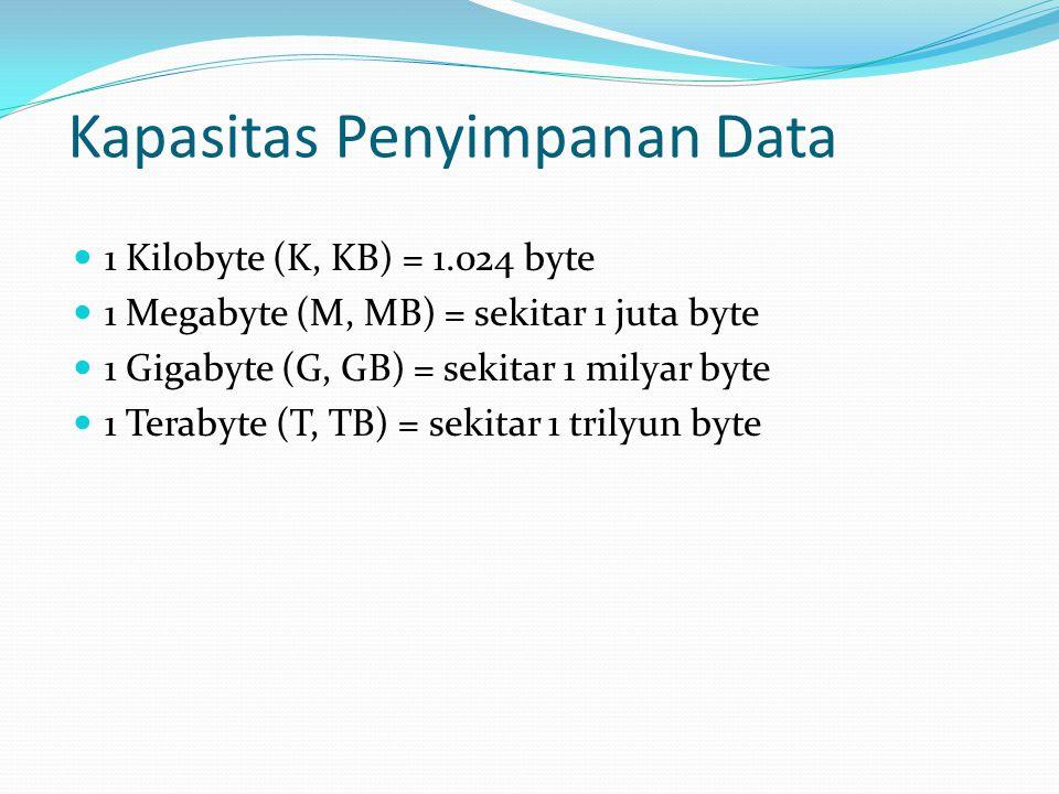 Kapasitas Penyimpanan Data  1 Kilobyte (K, KB) = 1.024 byte  1 Megabyte (M, MB) = sekitar 1 juta byte  1 Gigabyte (G, GB) = sekitar 1 milyar byte 
