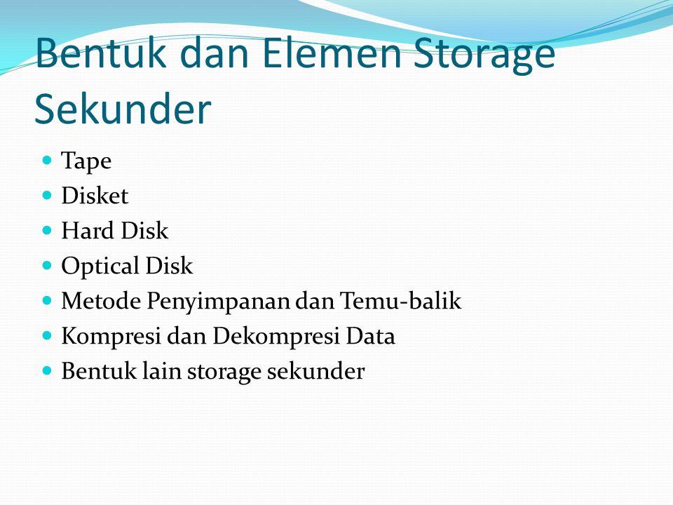 Bentuk dan Elemen Storage Sekunder  Tape  Disket  Hard Disk  Optical Disk  Metode Penyimpanan dan Temu-balik  Kompresi dan Dekompresi Data  Ben