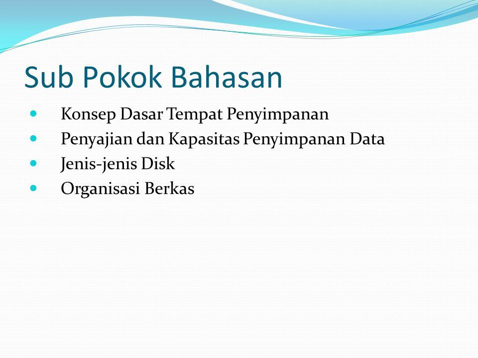 Sub Pokok Bahasan  Konsep Dasar Tempat Penyimpanan  Penyajian dan Kapasitas Penyimpanan Data  Jenis-jenis Disk  Organisasi Berkas