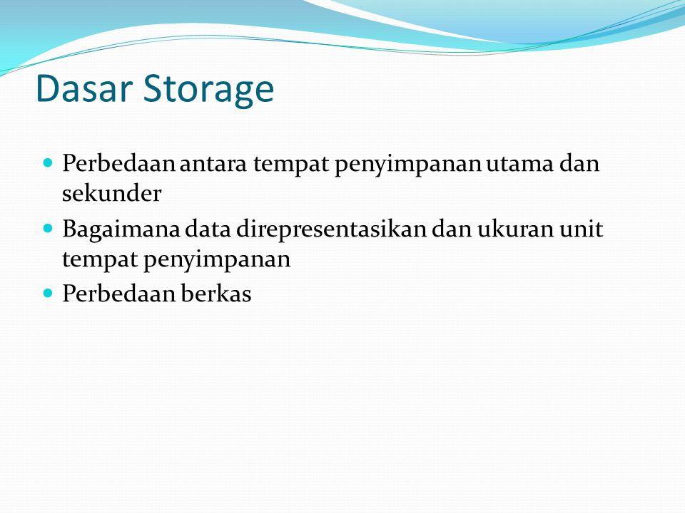 Dasar Storage  Perbedaan antara tempat penyimpanan utama dan sekunder  Bagaimana data direpresentasikan dan ukuran unit tempat penyimpanan  Perbeda