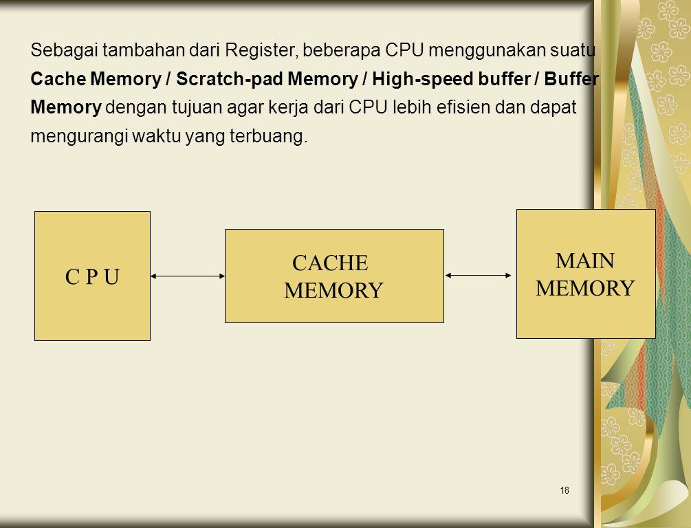 18 C P U CACHE MEMORY MAIN MEMORY Sebagai tambahan dari Register, beberapa CPU menggunakan suatu Cache Memory / Scratch-pad Memory / High-speed buffer
