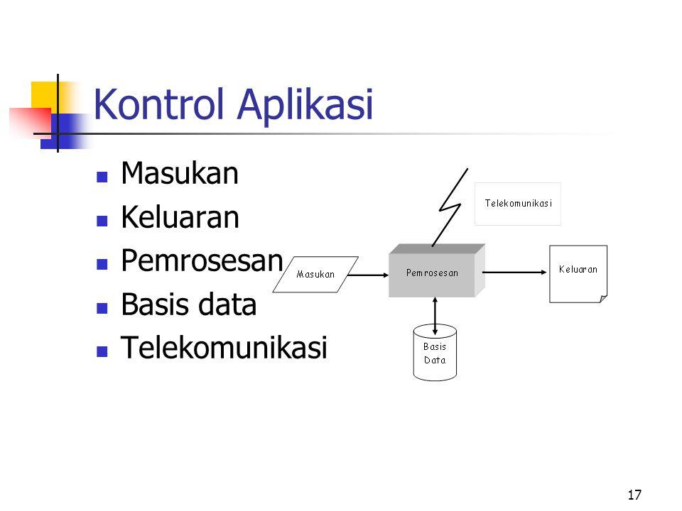 17 Kontrol Aplikasi  Masukan  Keluaran  Pemrosesan  Basis data  Telekomunikasi
