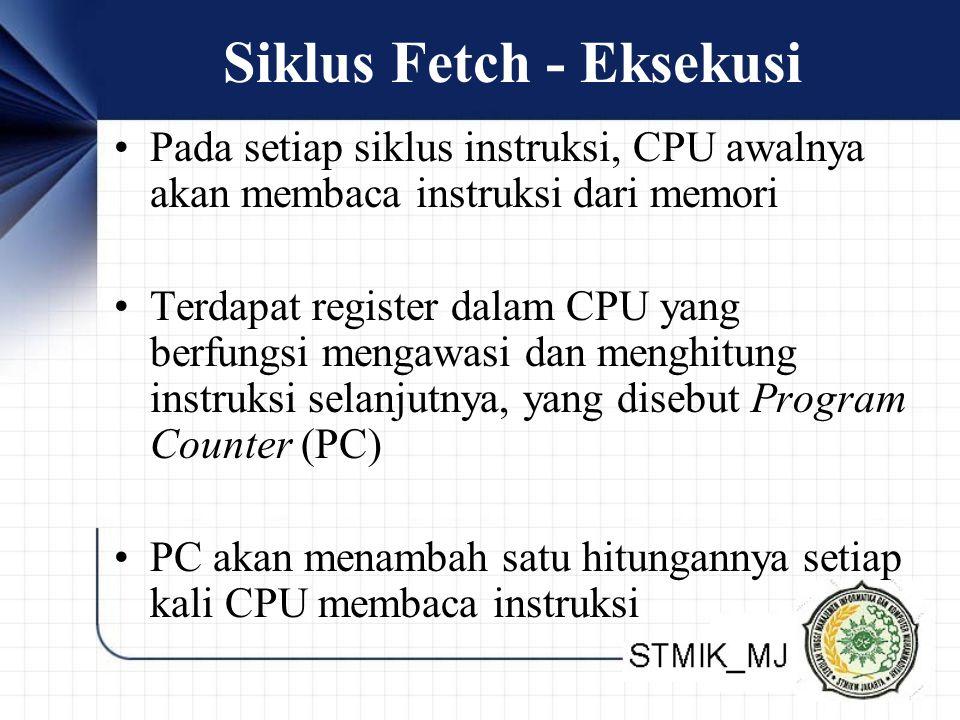 Siklus Fetch - Eksekusi •Pada setiap siklus instruksi, CPU awalnya akan membaca instruksi dari memori •Terdapat register dalam CPU yang berfungsi meng