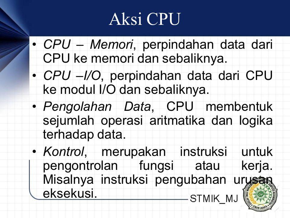 Aksi CPU • CPU – Memori, perpindahan data dari CPU ke memori dan sebaliknya. • CPU –I/O, perpindahan data dari CPU ke modul I/O dan sebaliknya. • Peng