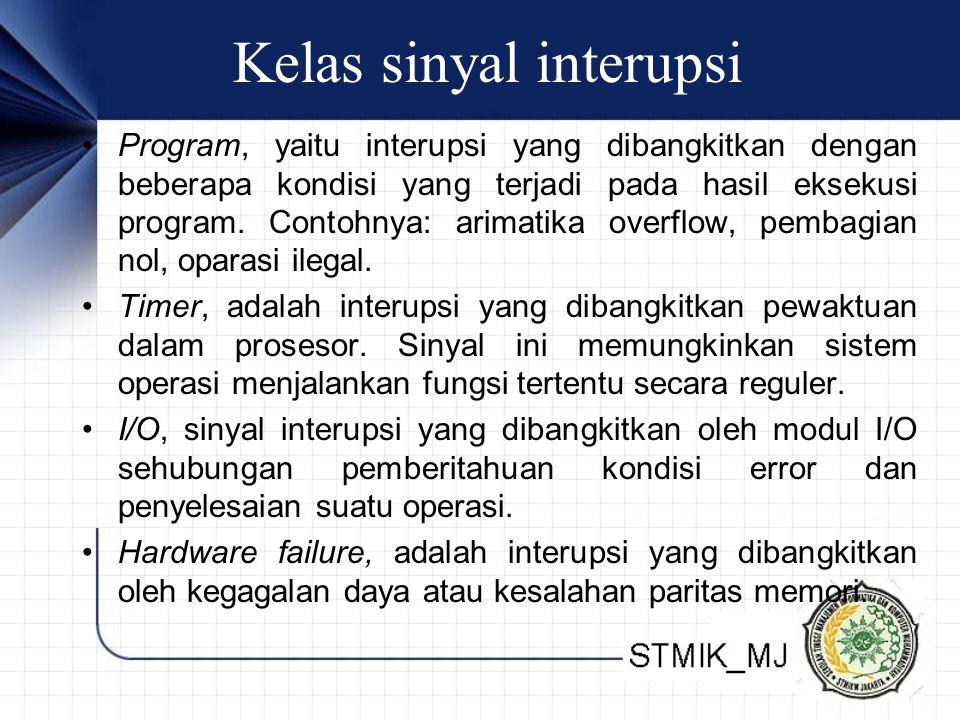 Kelas sinyal interupsi • Program, yaitu interupsi yang dibangkitkan dengan beberapa kondisi yang terjadi pada hasil eksekusi program. Contohnya: arima