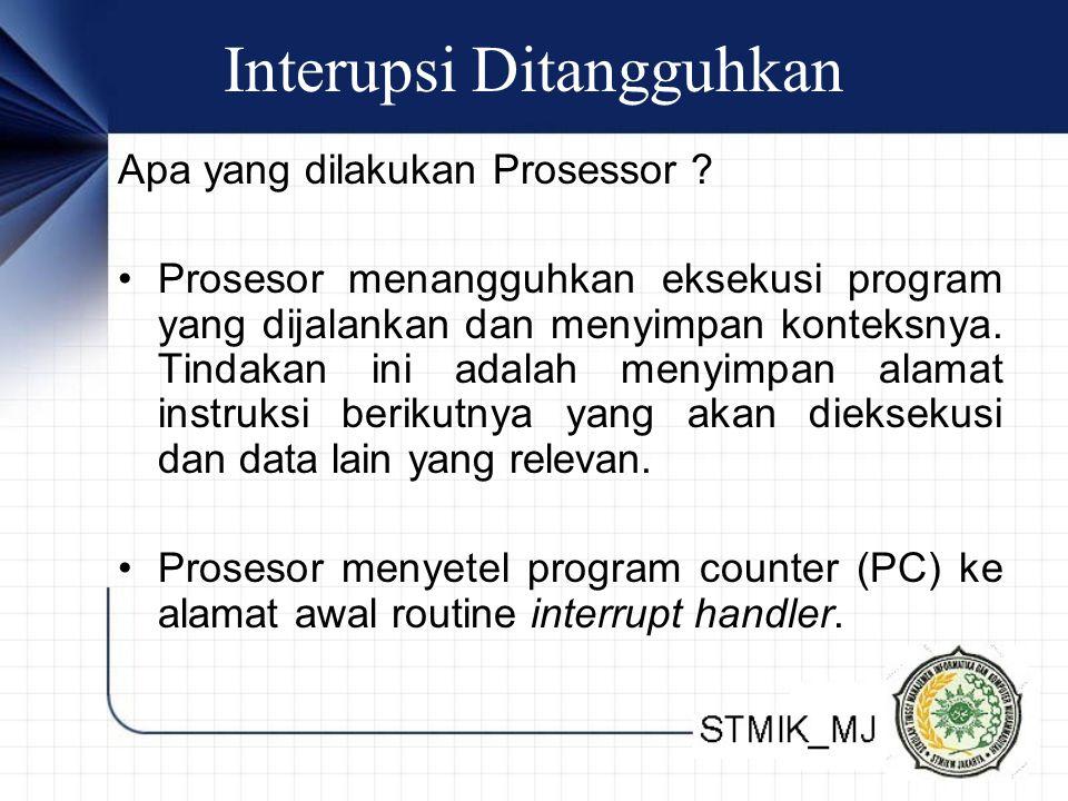 Interupsi Ditangguhkan Apa yang dilakukan Prosessor ? • Prosesor menangguhkan eksekusi program yang dijalankan dan menyimpan konteksnya. Tindakan ini