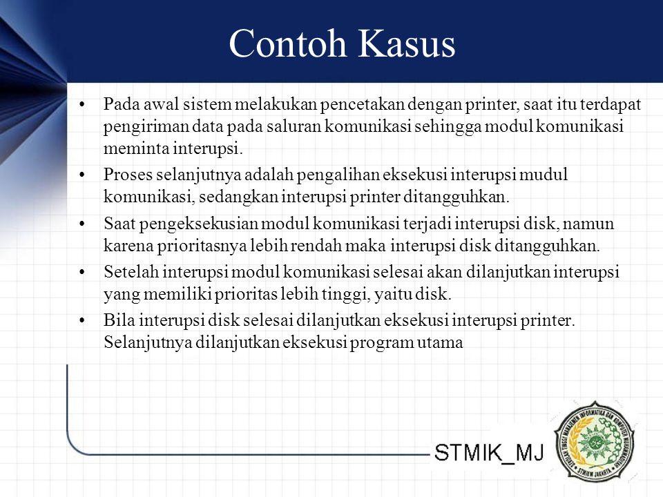 Contoh Kasus •Pada awal sistem melakukan pencetakan dengan printer, saat itu terdapat pengiriman data pada saluran komunikasi sehingga modul komunikas