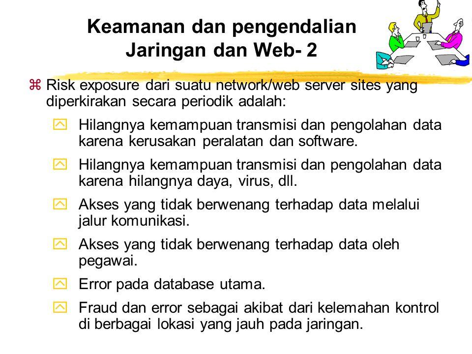 zRisk exposure dari suatu network/web server sites yang diperkirakan secara periodik adalah: yHilangnya kemampuan transmisi dan pengolahan data karena