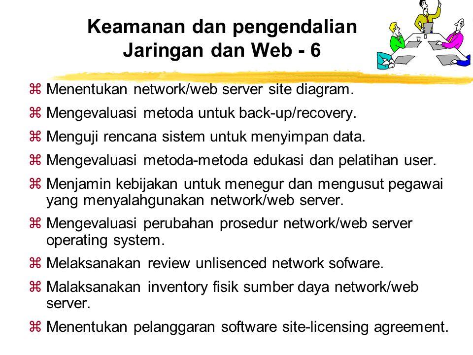 zMenentukan network/web server site diagram. zMengevaluasi metoda untuk back-up/recovery. zMenguji rencana sistem untuk menyimpan data. zMengevaluasi
