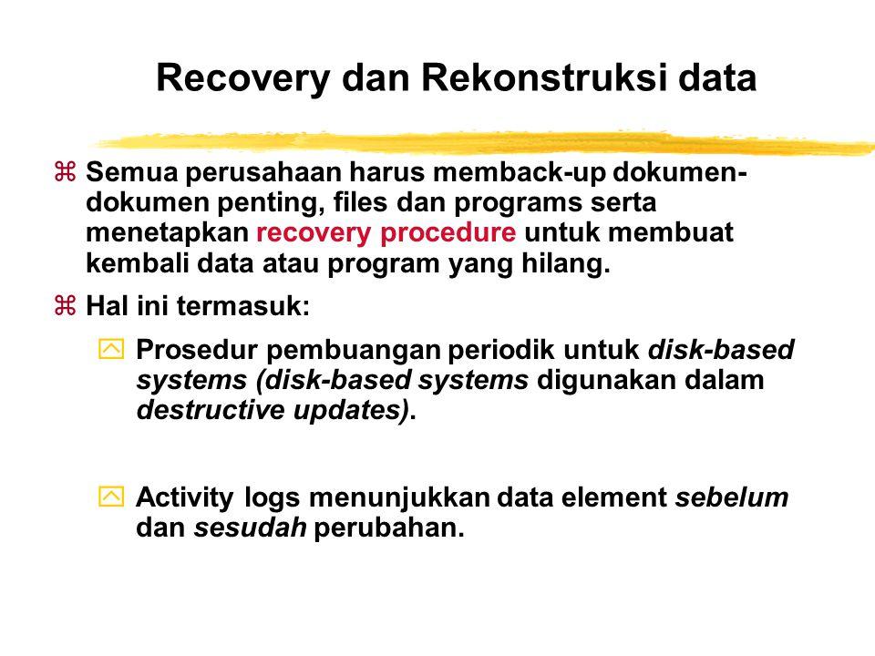 Recovery dan Rekonstruksi data zSemua perusahaan harus memback-up dokumen- dokumen penting, files dan programs serta menetapkan recovery procedure unt
