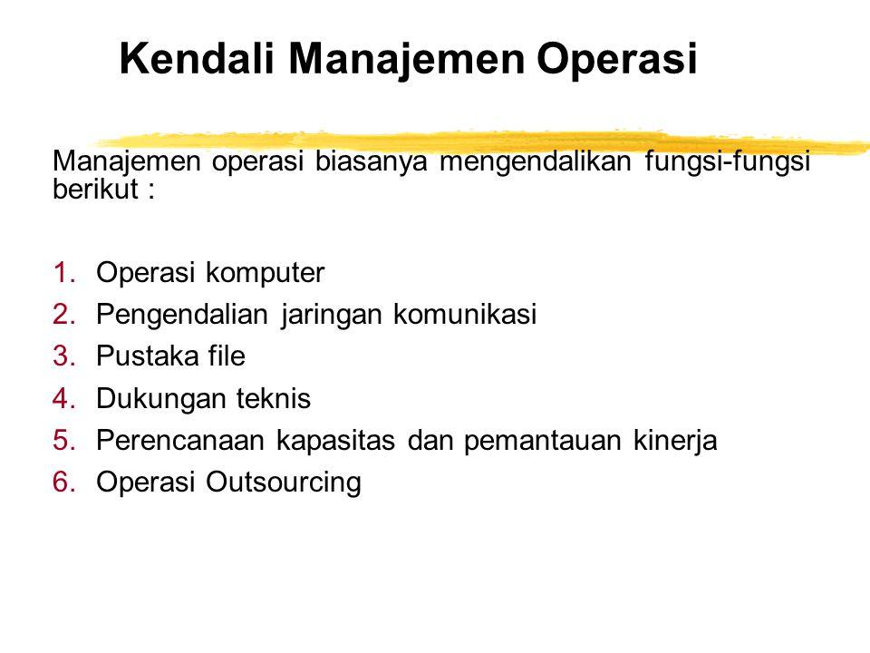 Kendali Manajemen Operasi Manajemen operasi biasanya mengendalikan fungsi-fungsi berikut : 1.Operasi komputer 2.Pengendalian jaringan komunikasi 3.Pus