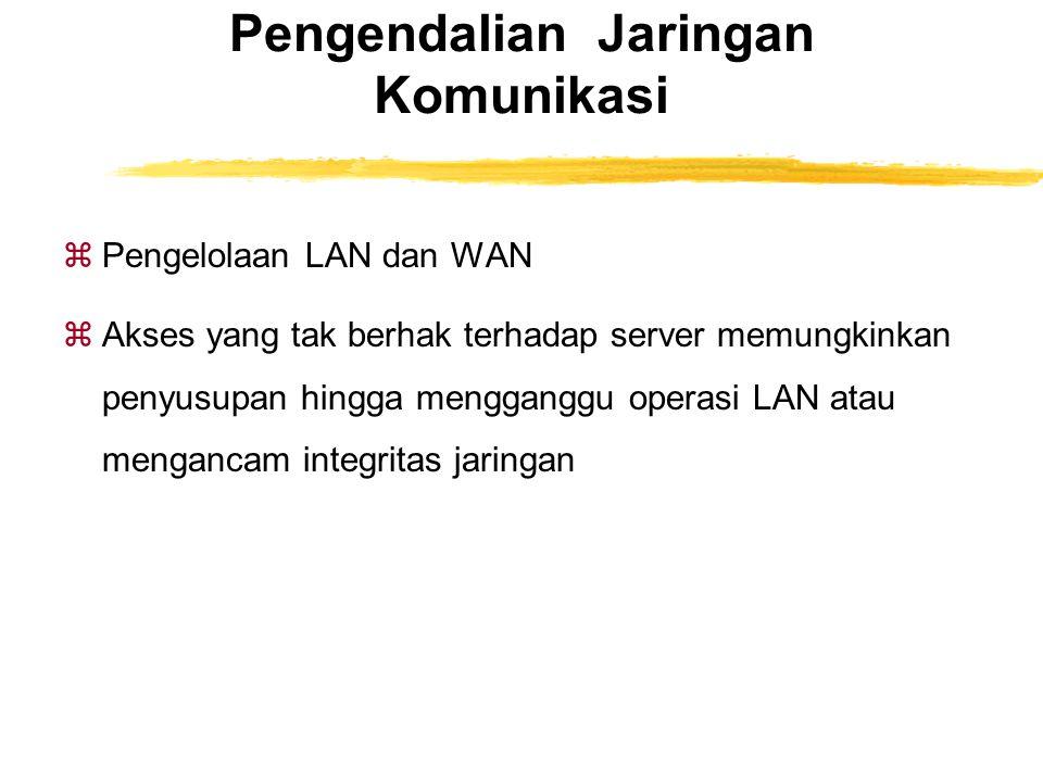 Pengendalian Jaringan Komunikasi zPengelolaan LAN dan WAN zAkses yang tak berhak terhadap server memungkinkan penyusupan hingga mengganggu operasi LAN