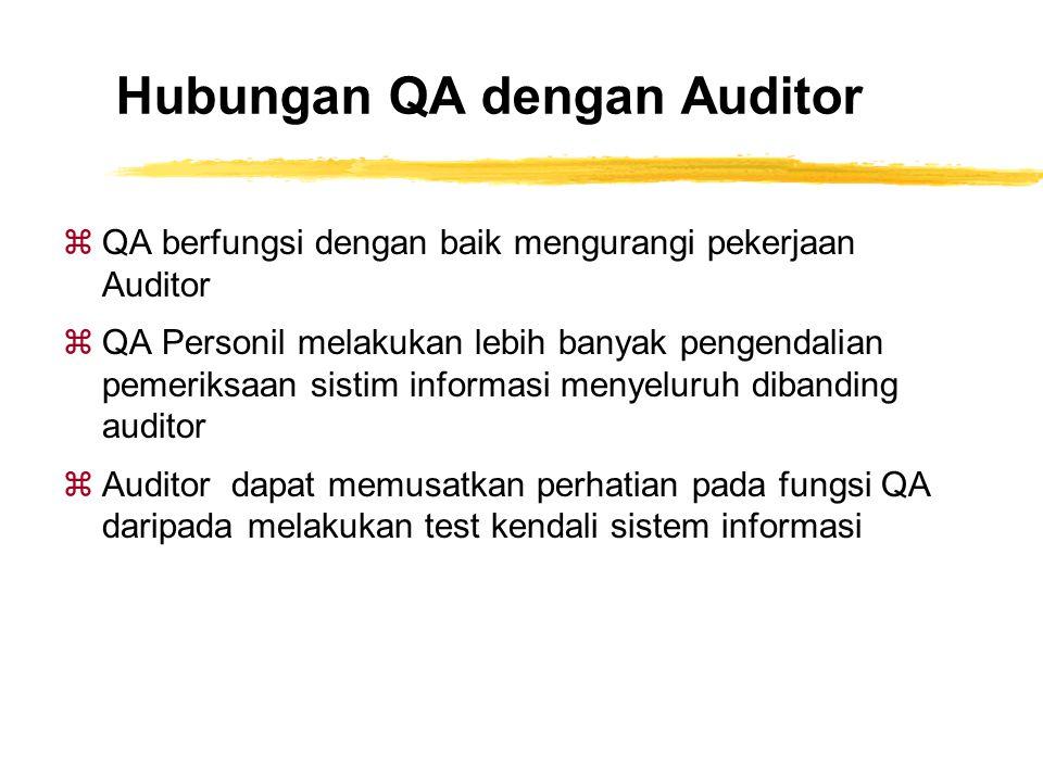 Hubungan QA dengan Auditor zQA berfungsi dengan baik mengurangi pekerjaan Auditor zQA Personil melakukan lebih banyak pengendalian pemeriksaan sistim