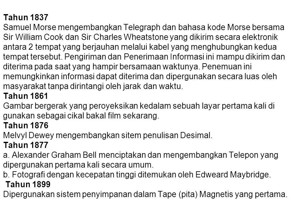 Tahun 1837 Samuel Morse mengembangkan Telegraph dan bahasa kode Morse bersama Sir William Cook dan Sir Charles Wheatstone yang dikirim secara elektron