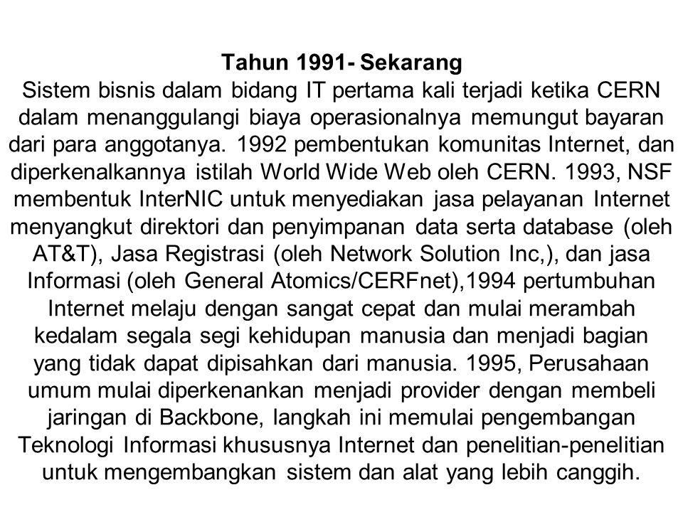 Tahun 1991- Sekarang Sistem bisnis dalam bidang IT pertama kali terjadi ketika CERN dalam menanggulangi biaya operasionalnya memungut bayaran dari par