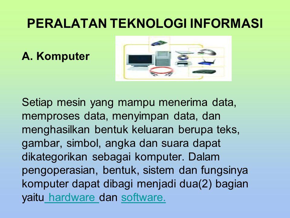 A. Komputer Setiap mesin yang mampu menerima data, memproses data, menyimpan data, dan menghasilkan bentuk keluaran berupa teks, gambar, simbol, angka
