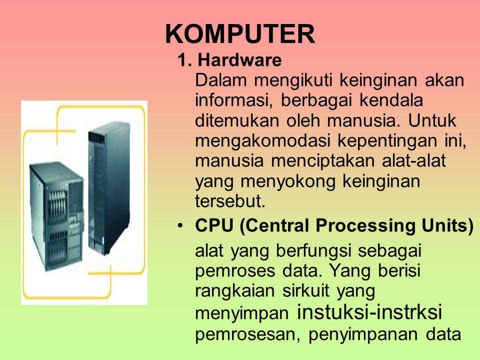 KOMPUTER 1. Hardware Dalam mengikuti keinginan akan informasi, berbagai kendala ditemukan oleh manusia. Untuk mengakomodasi kepentingan ini, manusia m