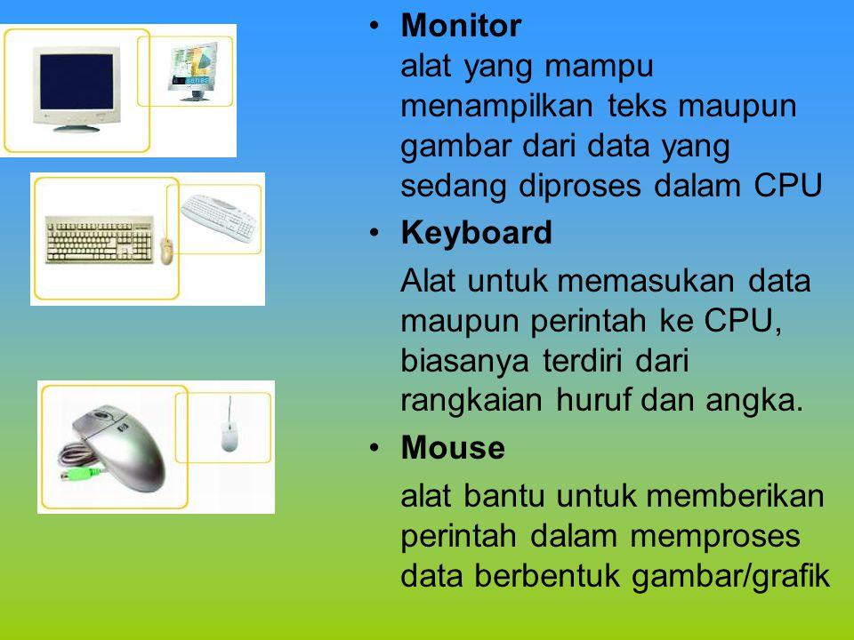 •Monitor alat yang mampu menampilkan teks maupun gambar dari data yang sedang diproses dalam CPU •Keyboard Alat untuk memasukan data maupun perintah k