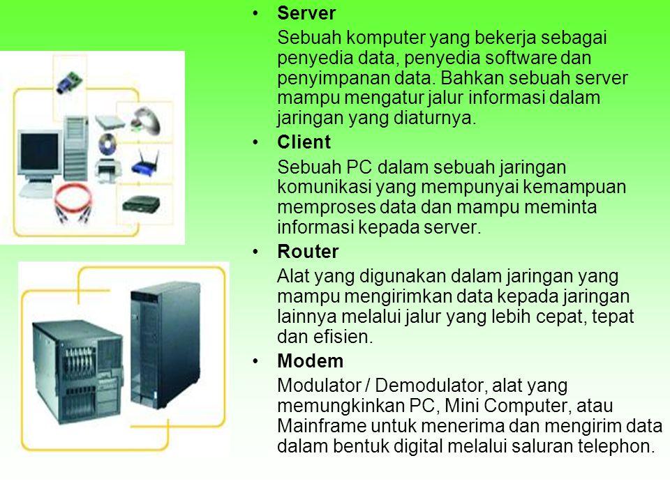 •Server Sebuah komputer yang bekerja sebagai penyedia data, penyedia software dan penyimpanan data. Bahkan sebuah server mampu mengatur jalur informas