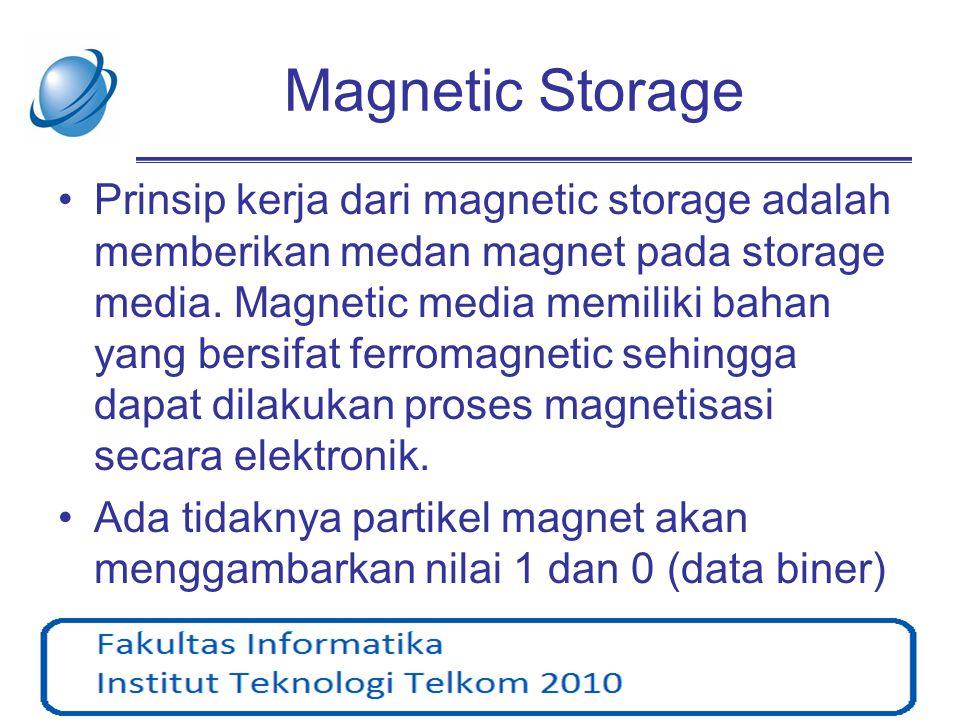 Magnetic Storage •Dari media yang digunakan ada dua jenis yaitu: –magnetic tape =medianya berupa pita yang memiliki sifat ferromagnetik –magnetic disk =medianya berupa piringan/disk yang dapat dimagnetisasi
