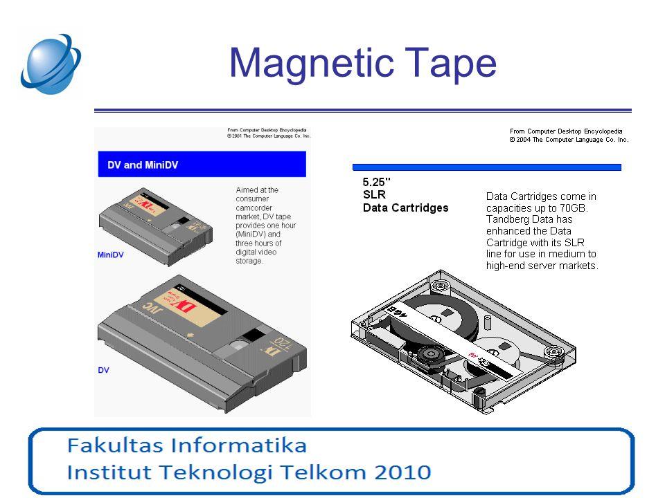 Magnetic Disk •Magnetic Disc dibagi menjadi track dan sector •Cluster = gabungan beberapa sector •Format : –Low level –High level Track adalah lingkaran konsentris pada disk.